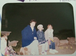 Here's a photo of my mom and me, and my friend Korelle by the bonfire. I had a great sense of head fashion back then as well.
