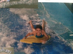 I even learned to surf. This is the extent of my surfing abilities. I have neither the knowledge or the balance to stand up on a surf board.